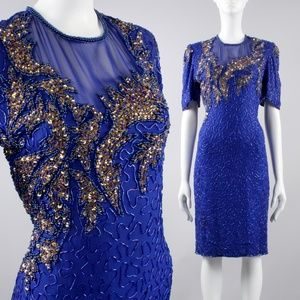 L Vintage Silk Beaded Sequin Cocktail Party Dress